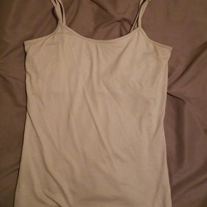 Gray Shimmer Scoop Neck Cami with Built in Bra